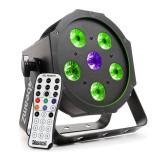 BEAMZ BFP110 FLATPAR, 5 x 6 W LED-uri RGB, Lampă Led 3-în-1, DMX, telecomandă IR - Masina de fum