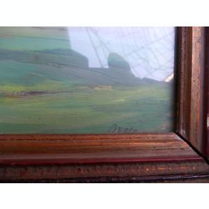 PICTURA VECHE IN ULEI PE CARTON - SEMNATA