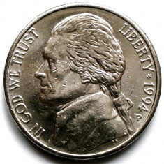 SUA, JEFFERSON, 5 CENTS 1994 P, Europa, Crom