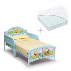 Set pat cu cadru metalic Disney Winnie the Pooh si saltea pentru patut Dreamily - 140 x 70 x 10 cm - Pat tematic pentru copii, 140x70cm, Albastru