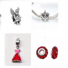SET 4 Charmuri talismane pentru PRINTESE placate argint pt bratara PANDORA - Bratara argint pandora, Femei