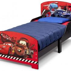 Pat cu cadru din lemn Disney Cars - Pat tematic pentru copii, 140x70cm, Rosu