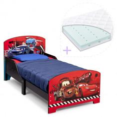 Set pat cu cadru din lemn Disney Cars si saltea pentru patut Dreamily - 140 x 70 x 10 cm - Pat tematic pentru copii, 140x70cm, Rosu