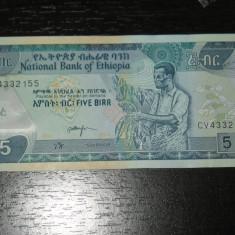 Bancnota 5 birr Etiopia 2015, AUNC - bancnota africa
