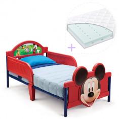 Set pat cu cadru metalic Disney Mickey Mouse 3D si saltea pentru patut Dreamily - 140 x 70 x 10 cm - Pat tematic pentru copii, 140x70cm, Rosu