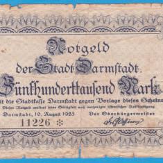 (1) BANCNOTA  (NOTGELD) - GERMANIA (DARMSTADT) - 500.000 MARK 1923 (10.08.1923)