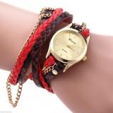 Ceas Fashion Dama GENEVA Tip Bratara - Nou, Quartz -  Rosu