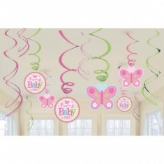 12 Decoratiuni Botez Spirale Colorate Welcome Little One - Girl