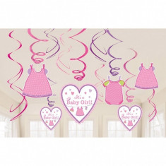 12 Decoratiuni Botez Spirale Colorate Shower With Love - Girl