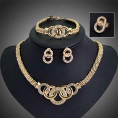 SET FASHION DAMA - Bratara + Cercei + Colier + Inel - Set bijuterii placate cu aur