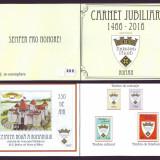 Carnet jubiliar Cetatea Noua a Romanului 550 ani, colita si timbre particulare