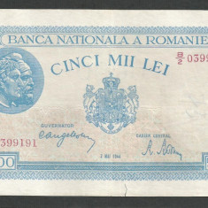 ROMANIA 5000 5.000 LEI 2 MAI 1944 [17] VF - Bancnota romaneasca