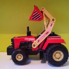 Masinuta tabla Tractor rosu cu cupa excavator Buddy L Big Bruiser 1988, - Vehicul