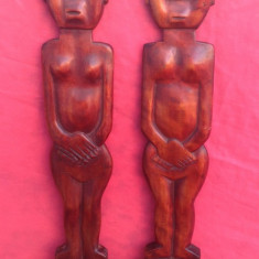 Arta Africana - Cuplu ( Lingura & Furculita ) din lemn exotic - Decor !!! - Sculptura, Abstract