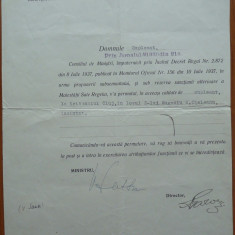 Ministerul Justitiei, Numire Tribunal, semnata, 1937, fost Deputat Chisinau
