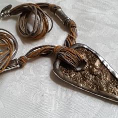 Colier argint Lux MORINI GIOIELLI retro Inima bronz in montura argint VINTAGE