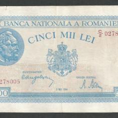 ROMANIA 5000 5.000 LEI 2 MAI 1944 [14] VF+ - Bancnota romaneasca