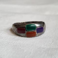 Inel argint clasic cu email in patru culori Vechi vintage Finut Delicat de Efect