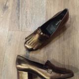 LICHIDARE STOC !Superbi pantofi dama DUNE BLACK noi piele bronz auriu 38 - Pantof dama, Piele naturala