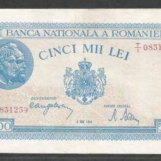ROMANIA 5000 5.000 LEI 2 MAI 1944 [9] VF+ - Bancnota romaneasca