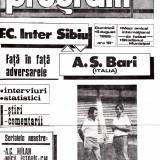 Program meci fotbal FC INTER SIBIU - AS BARI 06.08.1989