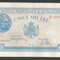 ROMANIA 5000 5.000 LEI 2 MAI 1944 [11] VF+ - Bancnota romaneasca