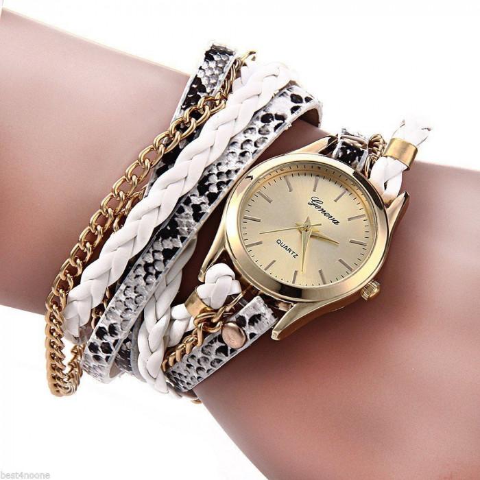 Ceas Fashion Dama GENEVA Tip Bratara - Nou, Quartz -  Argintiu