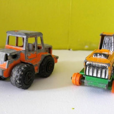 Lot 2 jucarii machete tractor Majorette Tractor + Tractor Matchbox Big Bull - Vehicul