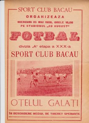 Program meci fotbal SC BACAU - OTELUL GALATI 25.05.1988 foto