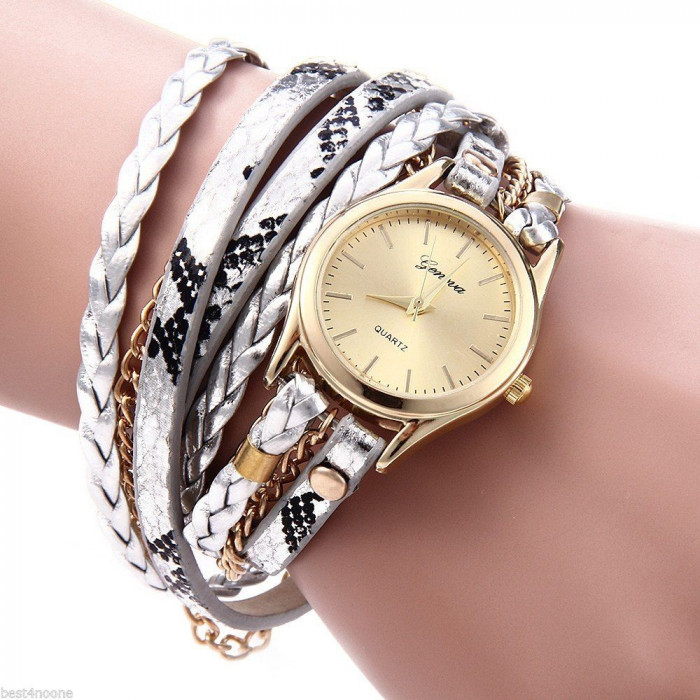 Ceas Fashion Dama GENEVA Tip Bratara - Nou, Quartz -  GRI