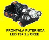 Lanterna de cap frontala 3x led, LED T6 incarcator auto si 220V