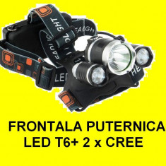 Lanterna de cap frontala BORUIT X Balog 3x led, LEd T6 auto si 220V 6000 lumeni