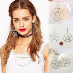 Cercei Dama Mari Pentagrama - Gen Punk / Rock Style - Model Argintiu