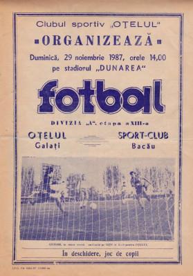 Program meci fotbal OTELUL GALATI - SC BACAU 29.11.1987 foto