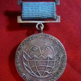 Insigna cu panglica -Concurs Internat. Ansambluri copii 1979 URSS -pt.Pace, d=3