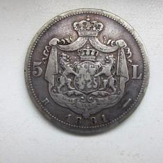 V- 5 lei 1881, 6 stele, a 5 a intoarsa! raritate - Moneda Romania, Argint