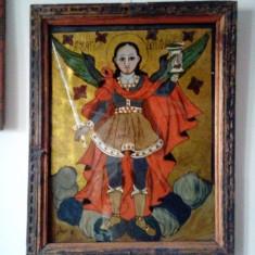 """""""Arhanghelul Mihail"""" icoana pe sticla 1804 Popa Sandu din Iernuteni"""