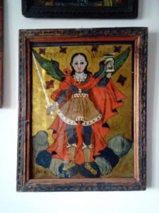Arhanghelul Mihail icoana pe sticla 1804 Popa Sandu din Iernuteni