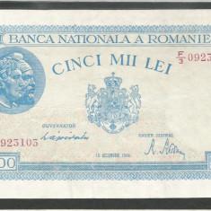 ROMANIA 5.000 5000 LEI 15 DECEMBRIE 1944 [1] P-55, XF++ - Bancnota romaneasca