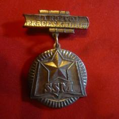 Insigna Pionier - Tineretul Socialist SSM Cehoslovacia, h= 5 cm, metal argintat