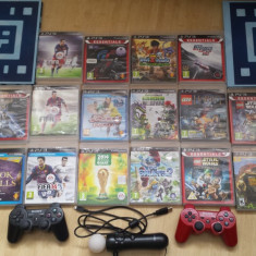 PS3, PlayStation 3 Sony Slim, PS 3 Slim + 16 jocuri + 2 controllere + alte accesorii