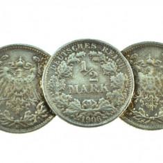 Brosa argint vechi, model monezi germane inceput secol 1905-1906, lucrata manual