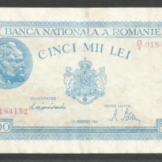 ROMANIA 5.000 5000 LEI 15 DECEMBRIE 1944 [6] P-55, VF++ - Bancnota romaneasca