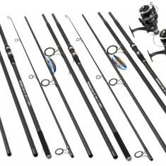 Set 3 Lansete 3.9 m Pokee Superior 4 Trons Cu Mulinete FL DA 6500 - Set pescuit