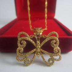 Lantisor cu pandantiv Butterfly dublu placat aur 18k cod CL3 - Lantisor placate cu aur, Femei
