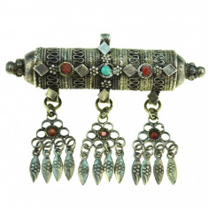 Brosa pandantiv argint etnic, design tribal, manufactura traditionala Afganistan - Brosa argint