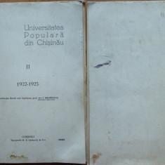 Universitatea Populara din Chisinau, 1922 - 1925, Chisinau, 1925 - Carte Editie princeps