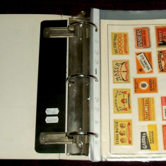 Album cu 732 etichete chibrituri straine in 57 coli de expozitie, serii complete