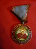 Medalie cu panglica 20 Ani Serviciul Militar Ungaria , metal,email , d=3,9 cm