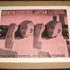 1945 Afis Traiasca Frontul Unic Muncitoresc, ilustrator Iosif Cova